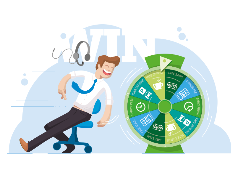 How to improve employee engagement ideas _ EvaluAgent Wheel of Fortune game